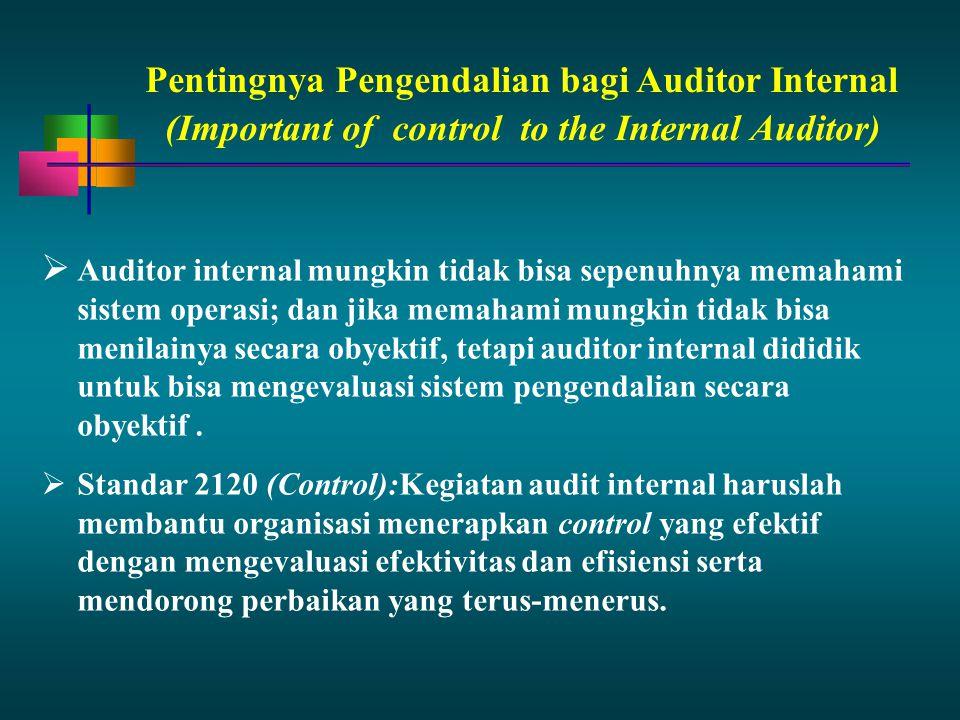 Pentingnya Pengendalian bagi Auditor Internal  Auditor internal mungkin tidak bisa sepenuhnya memahami sistem operasi; dan jika memahami mungkin tida