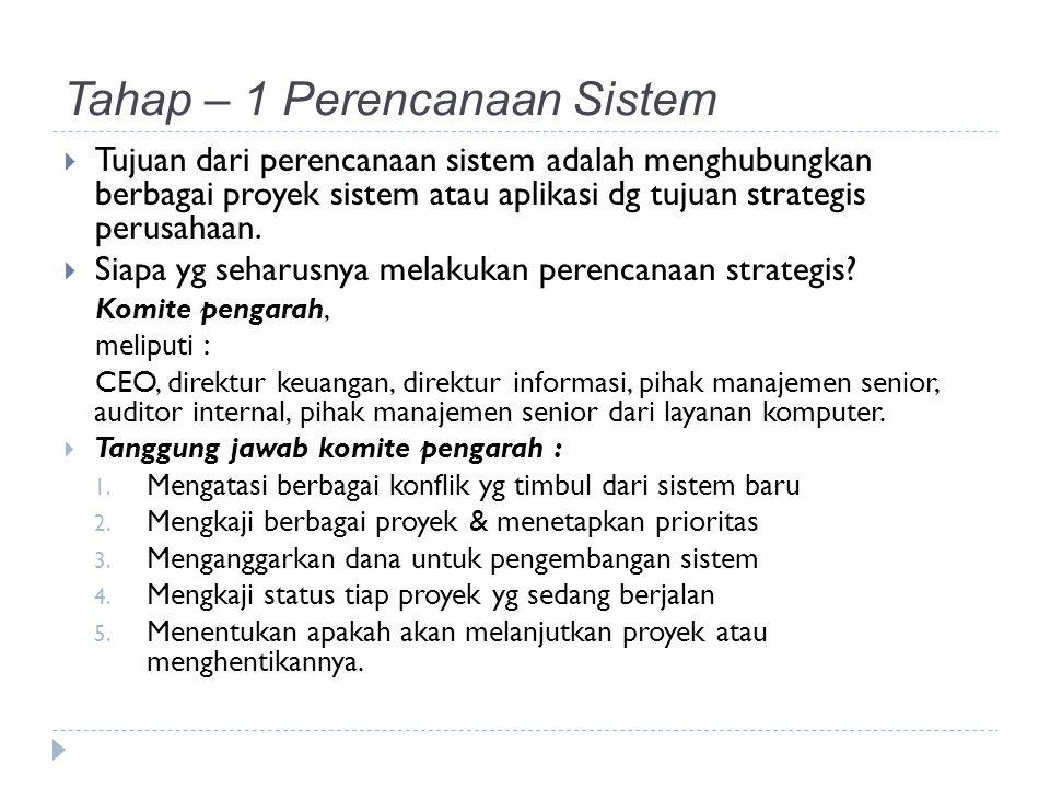 Tahap – 1 Perencanaan Sistem  Tujuan dari perencanaan sistem adalah menghubungkan berbagai proyek sistem atau aplikasi dg tujuan strategis perusahaan.