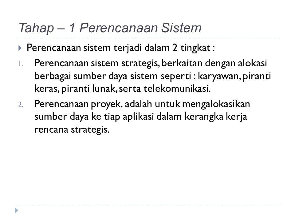 Tahap – 1 Perencanaan Sistem  Perencanaan sistem terjadi dalam 2 tingkat : 1.