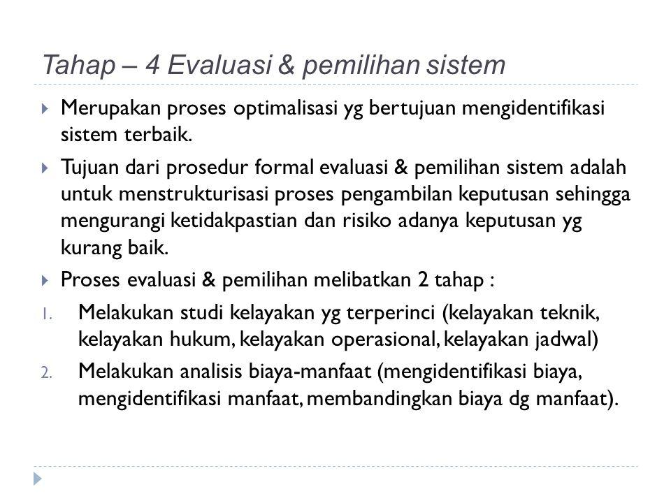 Tahap – 4 Evaluasi & pemilihan sistem  Merupakan proses optimalisasi yg bertujuan mengidentifikasi sistem terbaik.