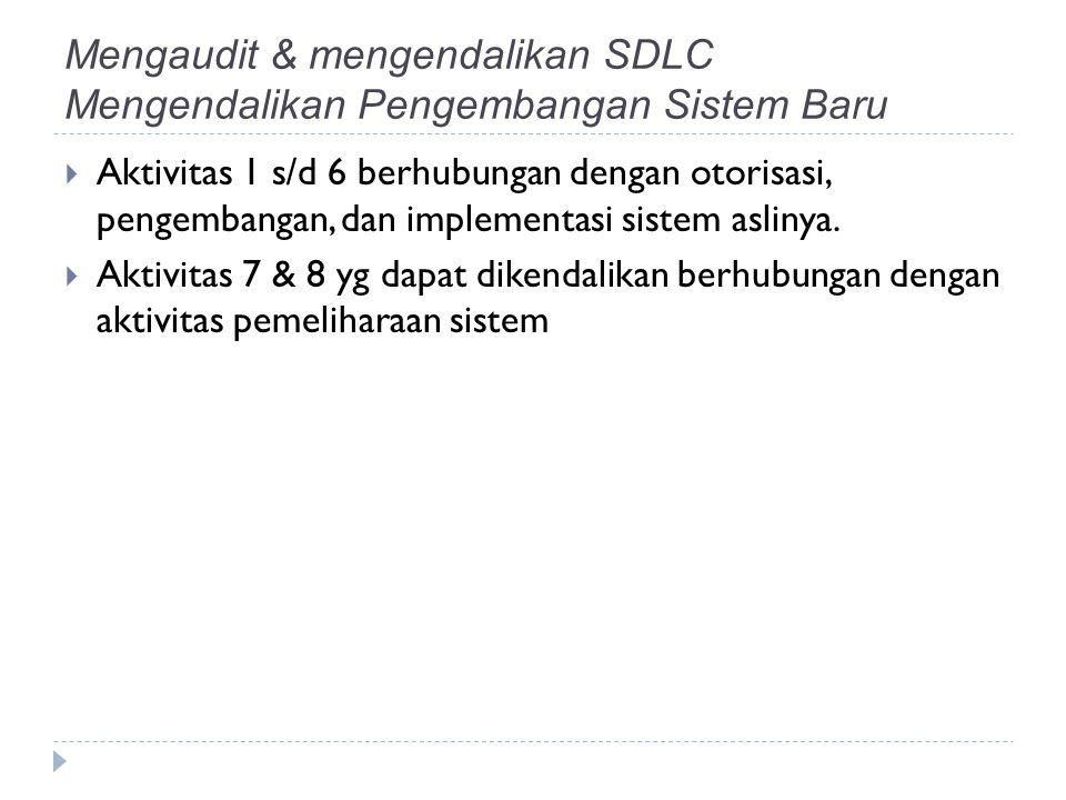 Mengaudit & mengendalikan SDLC Mengendalikan Pengembangan Sistem Baru  Aktivitas 1 s/d 6 berhubungan dengan otorisasi, pengembangan, dan implementasi sistem aslinya.