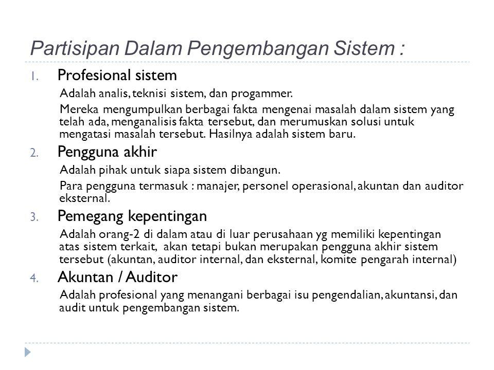 Partisipan Dalam Pengembangan Sistem : 1.
