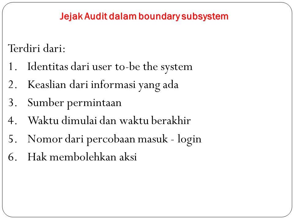 Jejak Audit dalam boundary subsystem Terdiri dari: 1.Identitas dari user to-be the system 2.Keaslian dari informasi yang ada 3.Sumber permintaan 4.Waktu dimulai dan waktu berakhir 5.Nomor dari percobaan masuk - login 6.Hak membolehkan aksi
