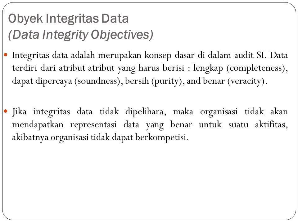 Obyek Integritas Data (Data Integrity Objectives) Integritas data adalah merupakan konsep dasar di dalam audit SI.