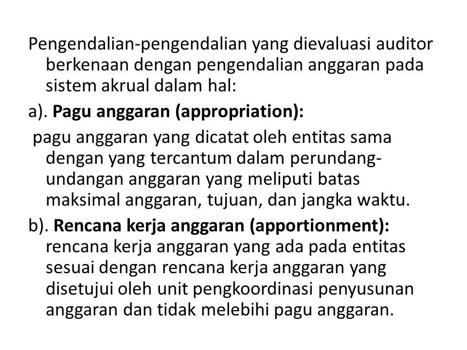 Pengendalian-pengendalian yang dievaluasi auditor berkenaan dengan pengendalian anggaran pada sistem akrual dalam hal: a). Pagu anggaran (appropriatio