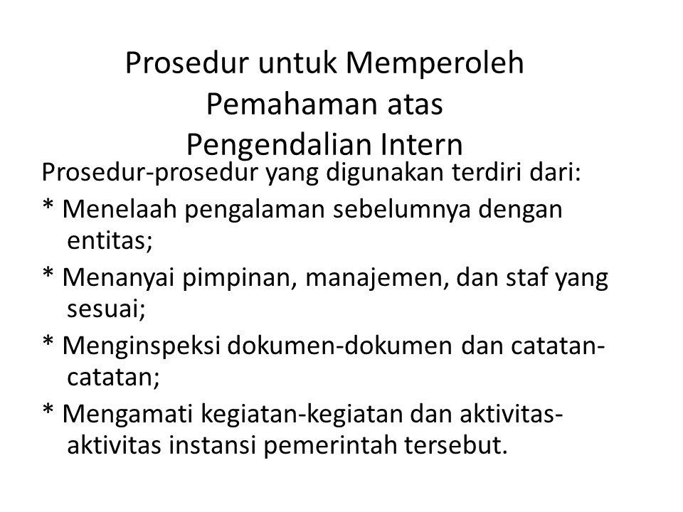 Prosedur untuk Memperoleh Pemahaman atas Pengendalian Intern Prosedur-prosedur yang digunakan terdiri dari: * Menelaah pengalaman sebelumnya dengan en