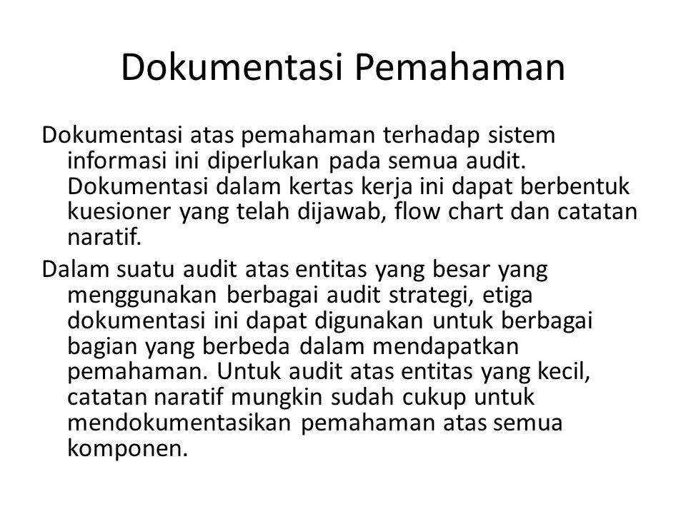 Dokumentasi Pemahaman Dokumentasi atas pemahaman terhadap sistem informasi ini diperlukan pada semua audit. Dokumentasi dalam kertas kerja ini dapat b