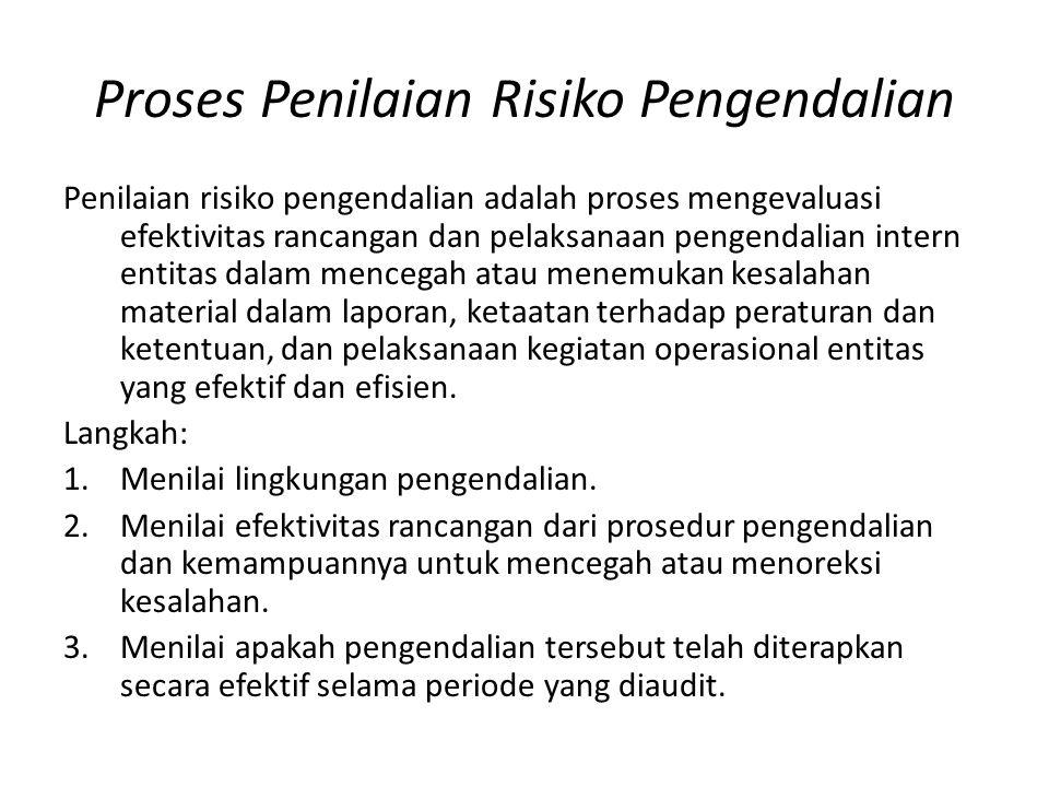 Proses Penilaian Risiko Pengendalian Penilaian risiko pengendalian adalah proses mengevaluasi efektivitas rancangan dan pelaksanaan pengendalian inter