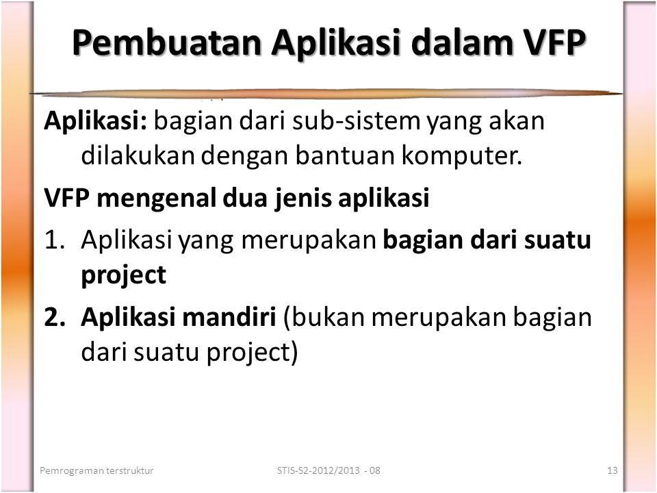 Pembuatan Aplikasi dalam VFP Aplikasi: bagian dari sub-sistem yang akan dilakukan dengan bantuan komputer. VFP mengenal dua jenis aplikasi 1.Aplikasi