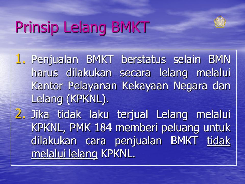 Prinsip Lelang BMKT 1.