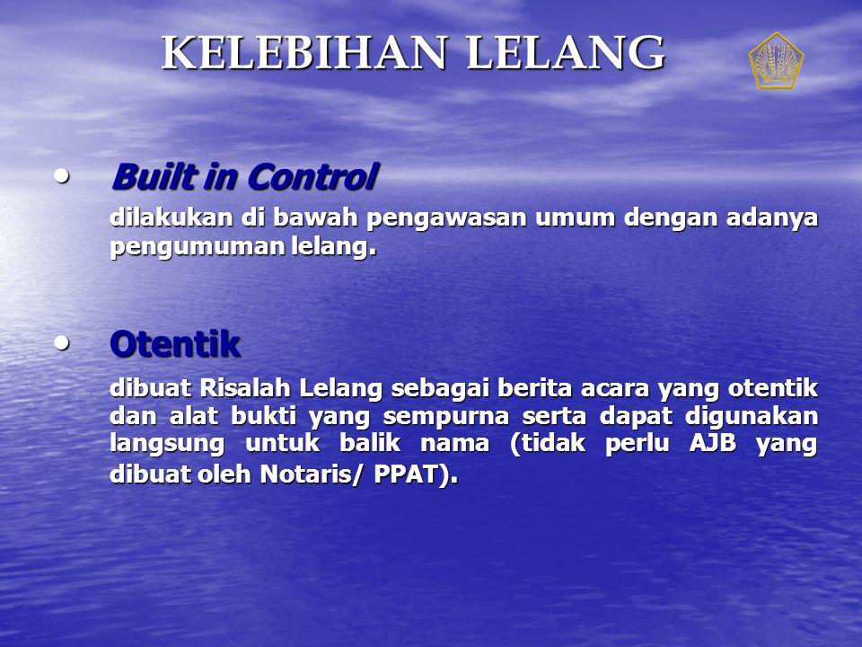 Built in Control Built in Control dilakukan di bawah pengawasan umum dengan adanya pengumuman lelang.
