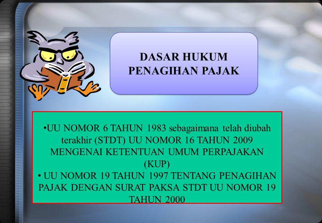 DASAR HUKUM PENAGIHAN PAJAK DASAR HUKUM PENAGIHAN PAJAK UU NOMOR 6 TAHUN 1983 sebagaimana telah diubah terakhir (STDT) UU NOMOR 16 TAHUN 2009 MENGENAI KETENTUAN UMUM PERPAJAKAN (KUP) UU NOMOR 19 TAHUN 1997 TENTANG PENAGIHAN PAJAK DENGAN SURAT PAKSA STDT UU NOMOR 19 TAHUN 2000