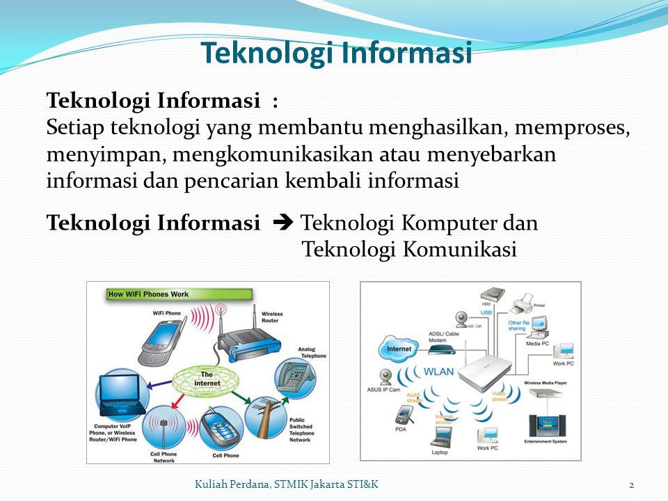 Teknologi Informasi 2Kuliah Perdana, STMIK Jakarta STI&K Teknologi Informasi  Teknologi Komputer dan Teknologi Komunikasi Teknologi Informasi : Setia