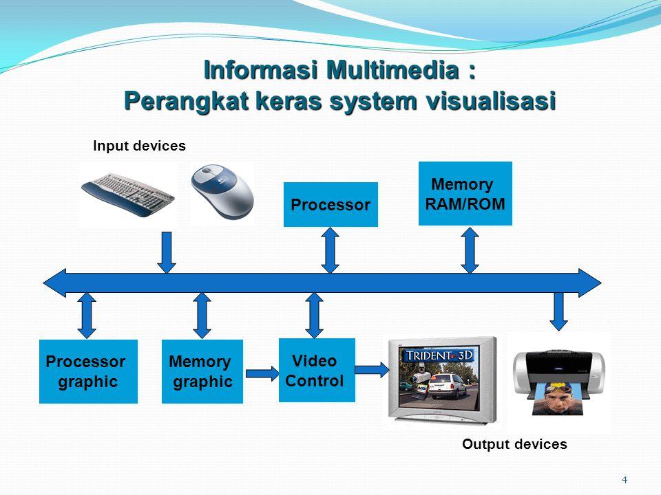 4 Processor Memory RAM/ROM Memory RAM/ROM Input devices Output devices Memory graphic Memory graphic Video Control Video Control Processor graphic Processor graphic Informasi Multimedia : Perangkat keras system visualisasi