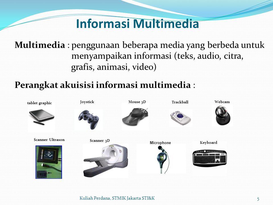 Informasi Multimedia 6Kuliah Perdana, STMIK Jakarta STI&K Konten Informasi Multimedia : - Text, - Audio, - Citra, grafis, - Video, animasi