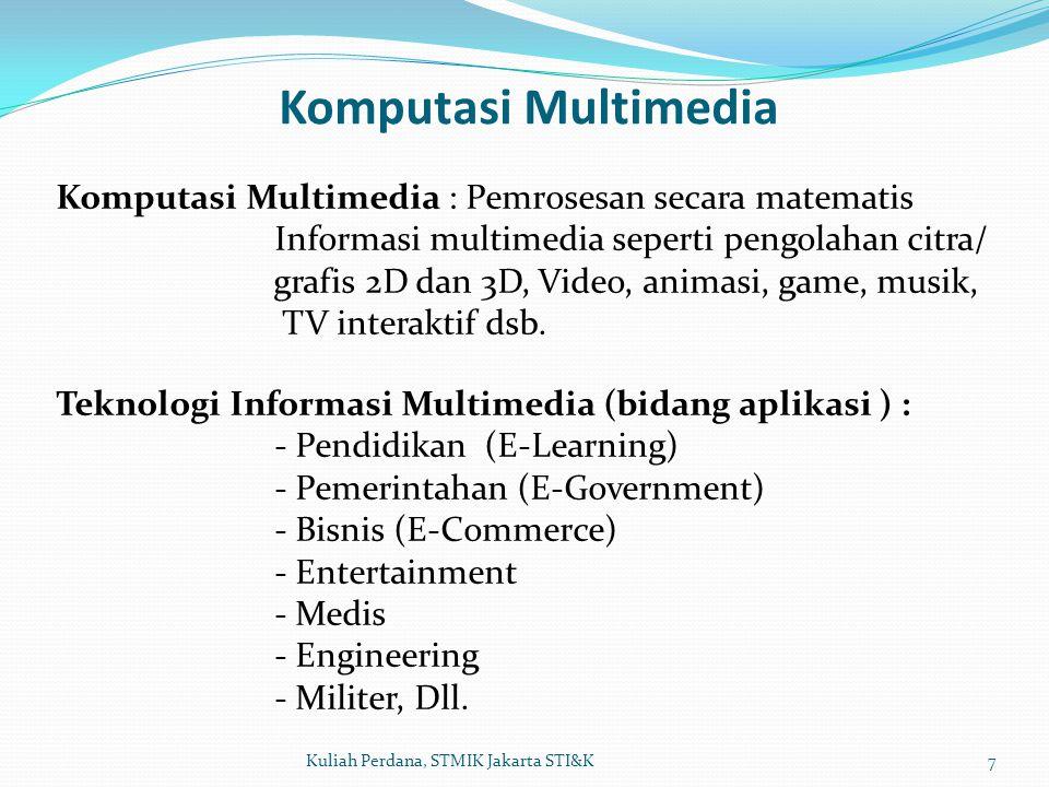 Komputasi Multimedia 7Kuliah Perdana, STMIK Jakarta STI&K Komputasi Multimedia : Pemrosesan secara matematis Informasi multimedia seperti pengolahan c