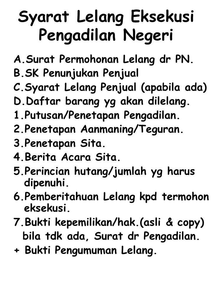 Syarat Lelang Eksekusi Pengadilan Negeri A.Surat Permohonan Lelang dr PN. B.SK Penunjukan Penjual C.Syarat Lelang Penjual (apabila ada) D.Daftar baran