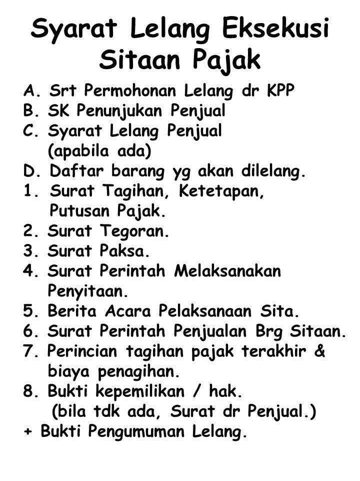 Syarat Lelang Eksekusi Sitaan Pajak A. Srt Permohonan Lelang dr KPP B. SK Penunjukan Penjual C. Syarat Lelang Penjual (apabila ada)  D. Daftar barang