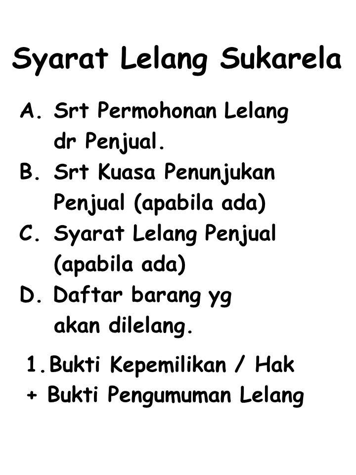Syarat Lelang Eksekusi Pengadilan Negeri A.Surat Permohonan Lelang dr PN.