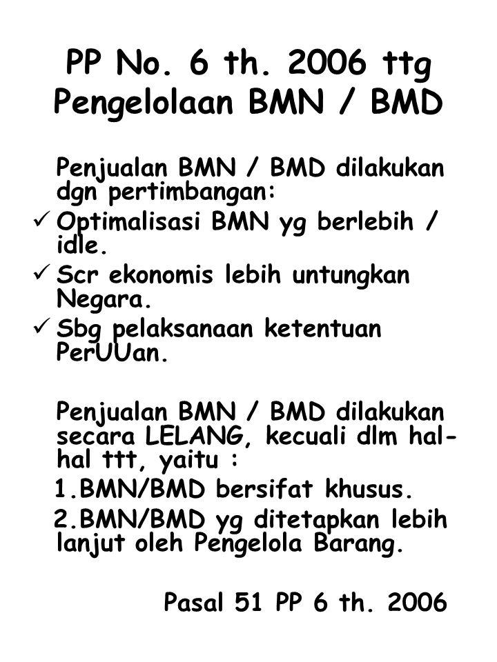 PP No. 6 th. 2006 ttg Pengelolaan BMN / BMD Penjualan BMN / BMD dilakukan dgn pertimbangan: Optimalisasi BMN yg berlebih / idle. Scr ekonomis lebih un