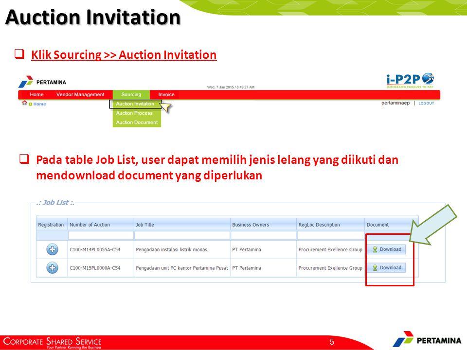 Auction Invitation 5  Klik Sourcing >> Auction Invitation  Pada table Job List, user dapat memilih jenis lelang yang diikuti dan mendownload documen