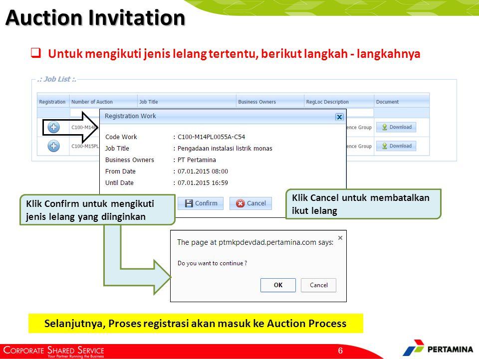 Auction Invitation 6  Untuk mengikuti jenis lelang tertentu, berikut langkah - langkahnya Klik Confirm untuk mengikuti jenis lelang yang diinginkan K
