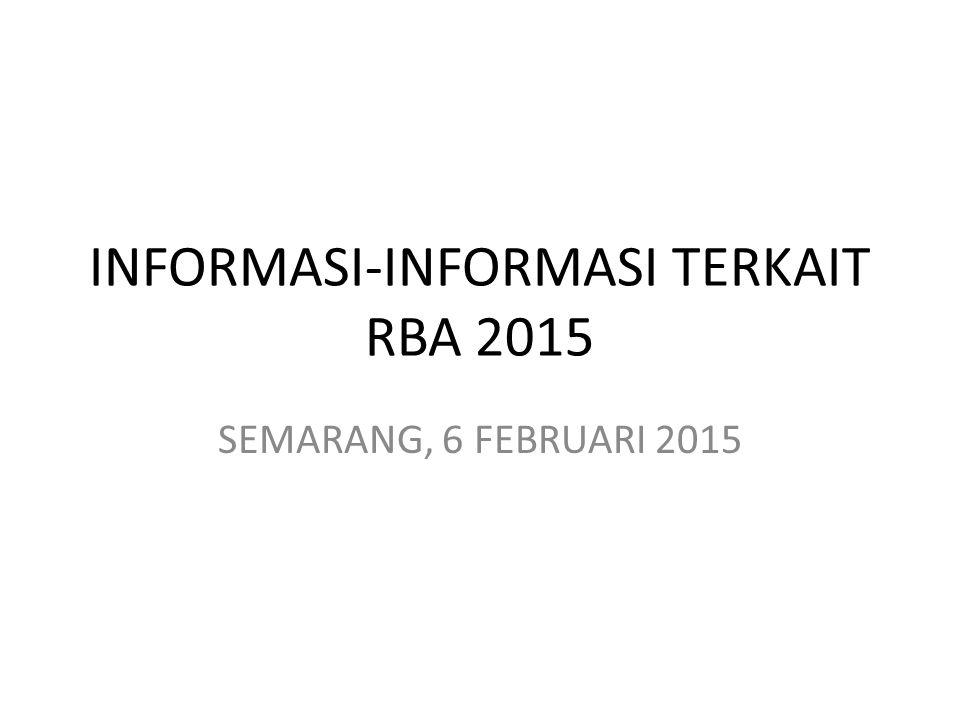 INFORMASI-INFORMASI TERKAIT RBA 2015 SEMARANG, 6 FEBRUARI 2015