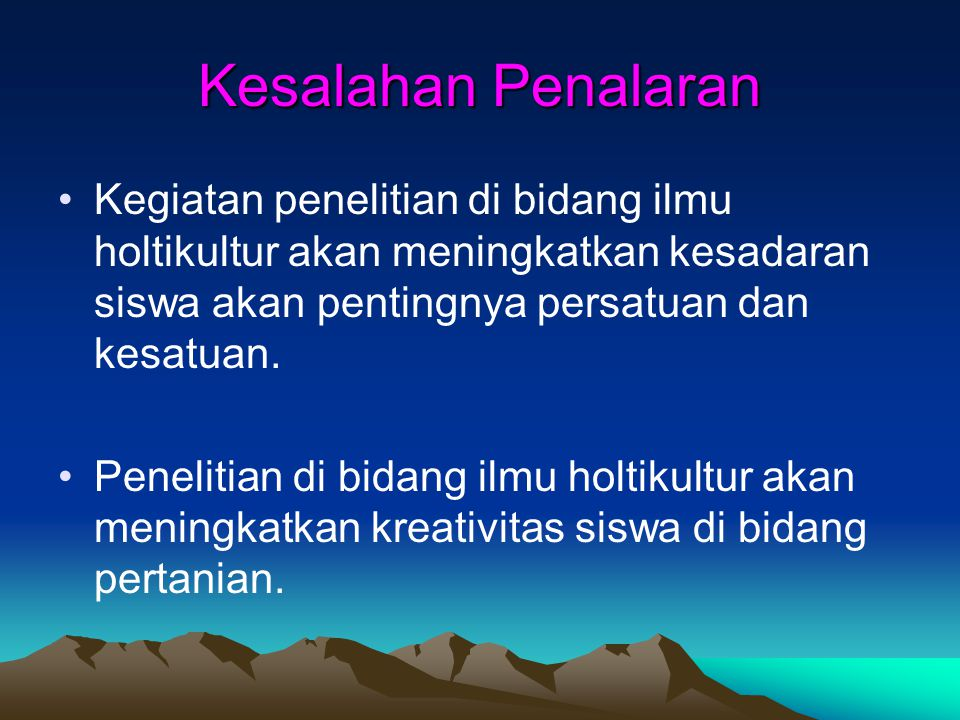 Kesalahan Umum Pemakaian BI dalam Tulisan Ilmiah Kesalahan pemakaian bahasa Indonesia dalam tulisan ilmiah pada umumnya berkaitan dengan: 1. kesalahan