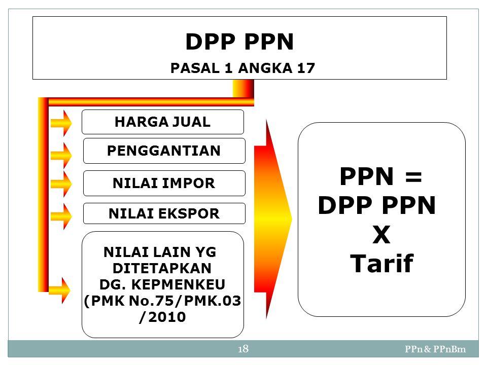 PPn & PPnBm 18 PENGGANTIAN NILAI IMPOR NILAI EKSPOR NILAI LAIN YG DITETAPKAN DG. KEPMENKEU (PMK No.75/PMK.03 /2010 HARGA JUAL PPN = DPP PPN X Tarif DP