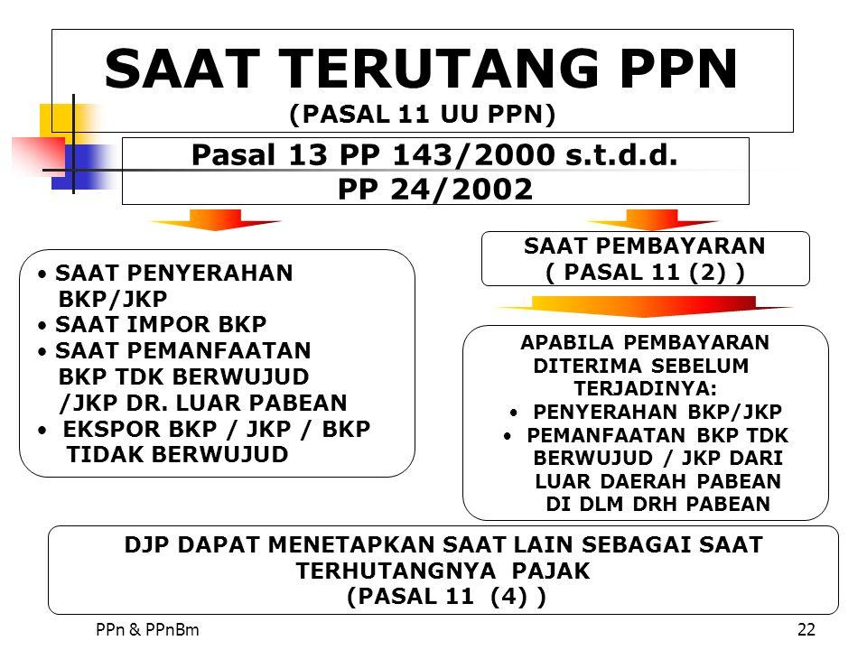 PPn & PPnBm22 SAAT PEMBAYARAN ( PASAL 11 (2) ) SAAT PENYERAHAN BKP/JKP SAAT IMPOR BKP SAAT PEMANFAATAN BKP TDK BERWUJUD /JKP DR. LUAR PABEAN EKSPOR BK