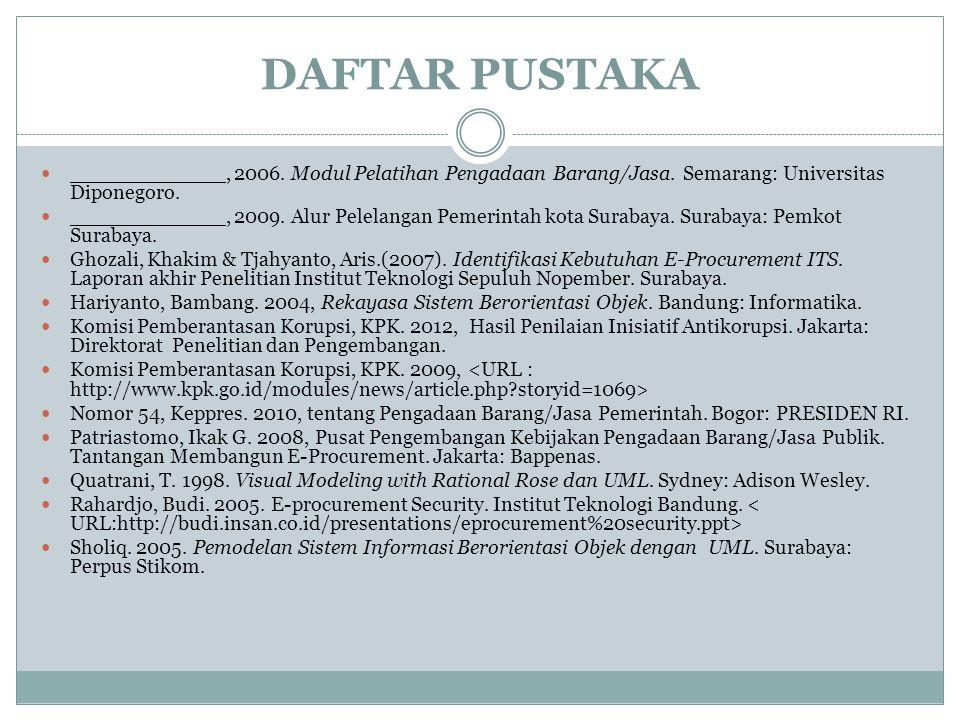 DAFTAR PUSTAKA ____________, 2006. Modul Pelatihan Pengadaan Barang/Jasa. Semarang: Universitas Diponegoro. ____________, 2009. Alur Pelelangan Pemeri