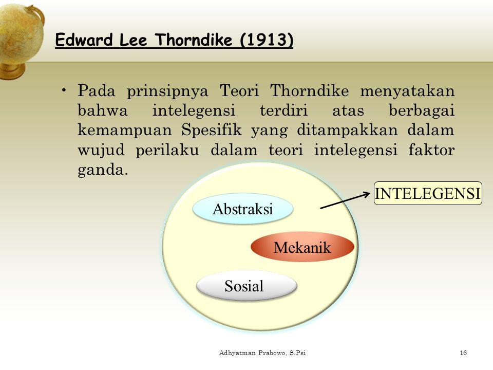 Pada prinsipnya Teori Thorndike menyatakan bahwa intelegensi terdiri atas berbagai kemampuan Spesifik yang ditampakkan dalam wujud perilaku dalam teor