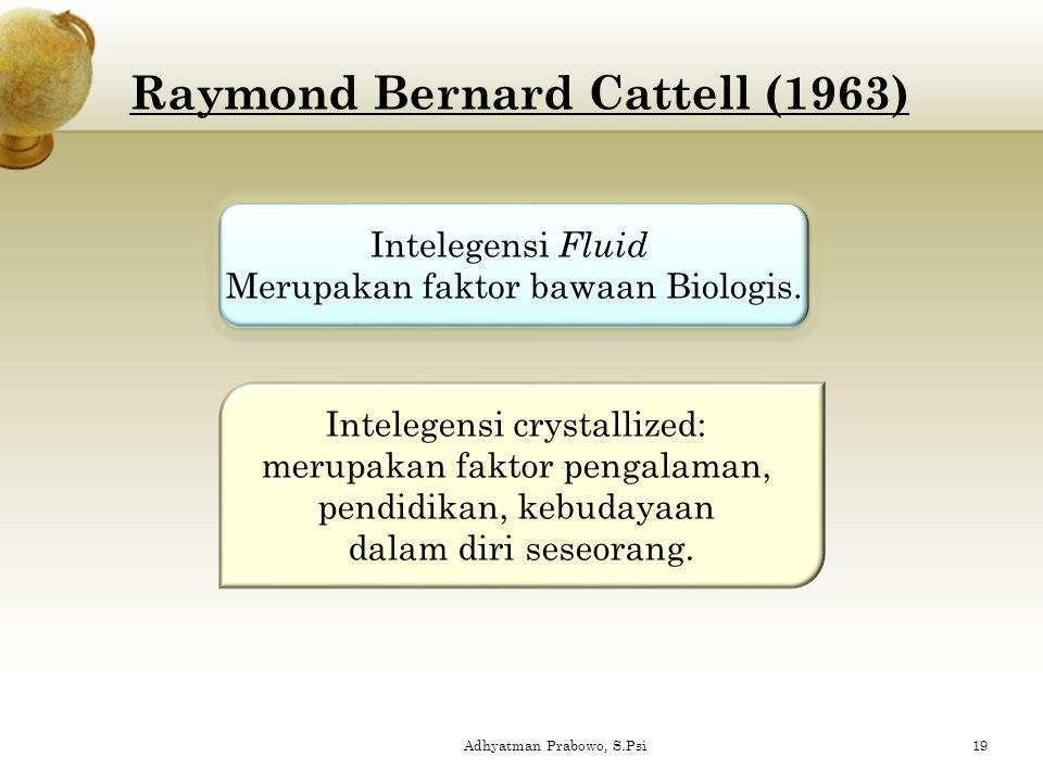 Raymond Bernard Cattell (1963) Intelegensi Fluid Merupakan faktor bawaan Biologis. Intelegensi Fluid Merupakan faktor bawaan Biologis. Intelegensi cry