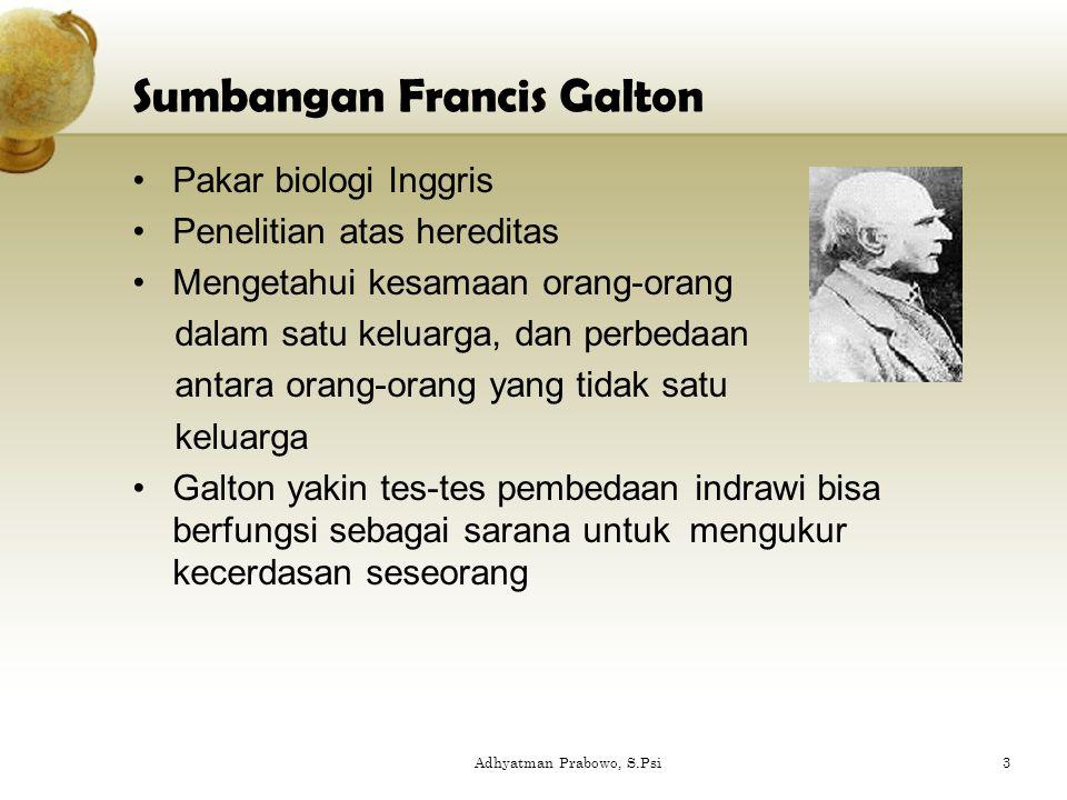 Sumbangan Francis Galton Pakar biologi Inggris Penelitian atas hereditas Mengetahui kesamaan orang-orang dalam satu keluarga, dan perbedaan antara ora