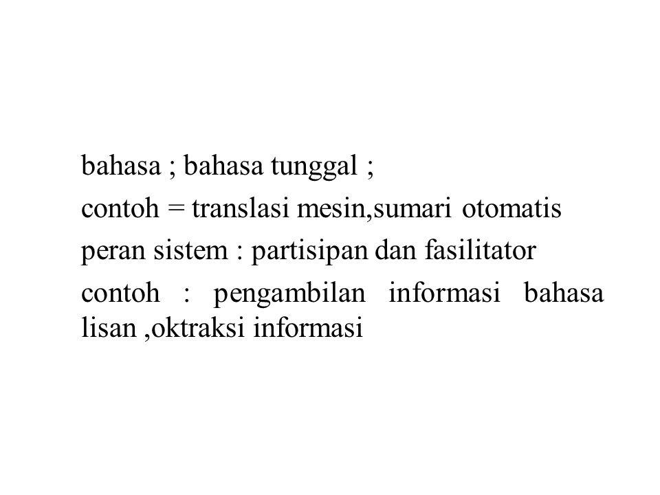 bahasa ; bahasa tunggal ; contoh = translasi mesin,sumari otomatis peran sistem : partisipan dan fasilitator contoh : pengambilan informasi bahasa lisan,oktraksi informasi