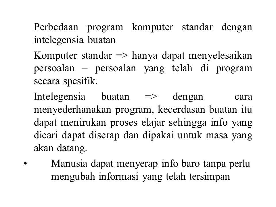 Perbedaan program komputer standar dengan intelegensia buatan Komputer standar => hanya dapat menyelesaikan persoalan – persoalan yang telah di program secara spesifik.