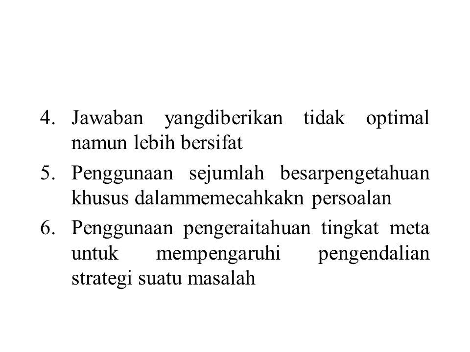 4.Jawaban yangdiberikan tidak optimal namun lebih bersifat 5.Penggunaan sejumlah besarpengetahuan khusus dalammemecahkakn persoalan 6.Penggunaan pengeraitahuan tingkat meta untuk mempengaruhi pengendalian strategi suatu masalah