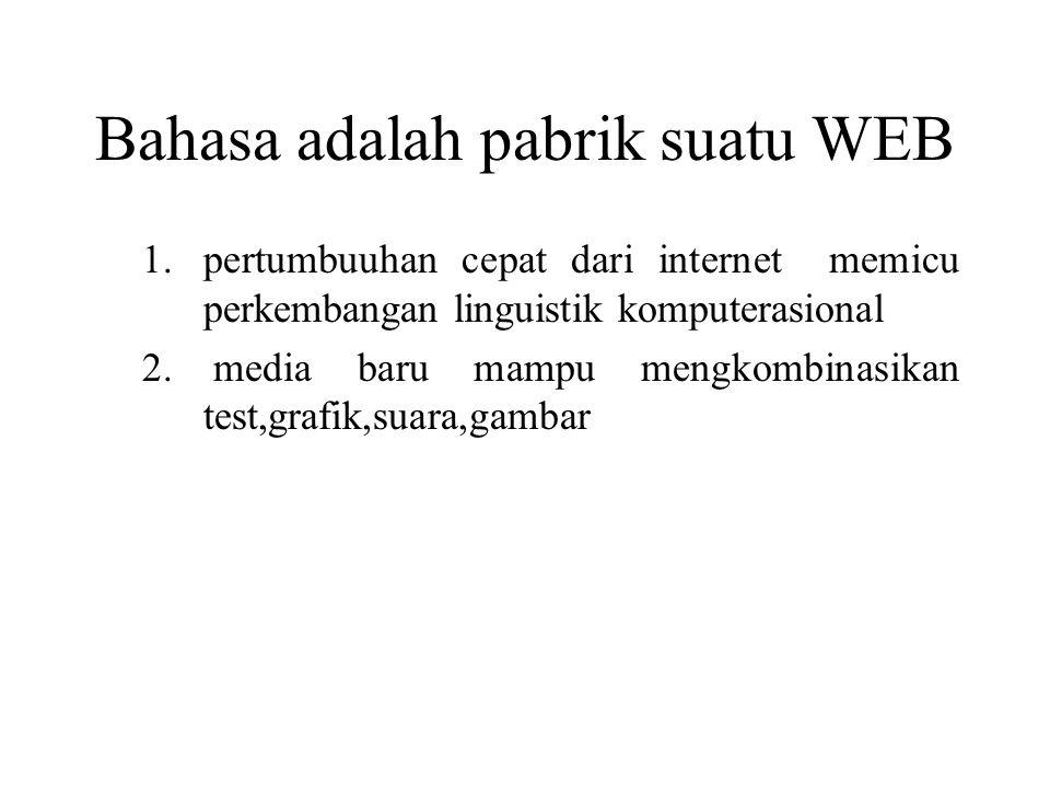 Bahasa adalah pabrik suatu WEB 1.pertumbuuhan cepat dari internet memicu perkembangan linguistik komputerasional 2.