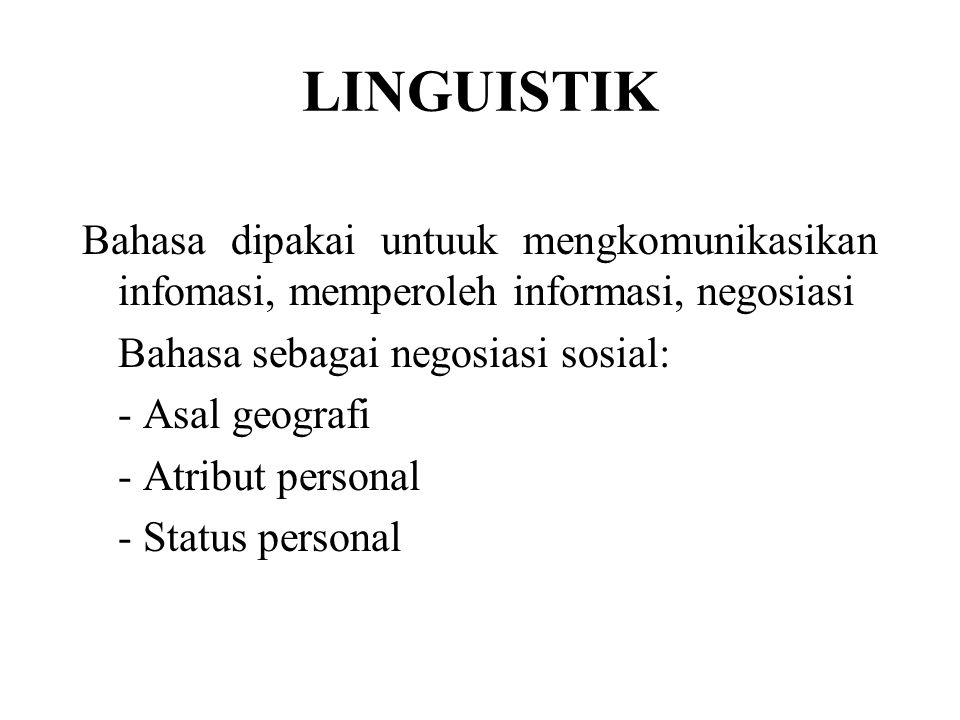 LINGUISTIK Bahasa dipakai untuuk mengkomunikasikan infomasi, memperoleh informasi, negosiasi Bahasa sebagai negosiasi sosial: - Asal geografi - Atribut personal - Status personal