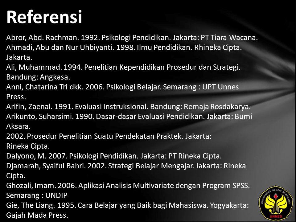 Referensi Abror, Abd. Rachman. 1992. Psikologi Pendidikan. Jakarta: PT Tiara Wacana. Ahmadi, Abu dan Nur Uhbiyanti. 1998. Ilmu Pendidikan. Rhineka Cip