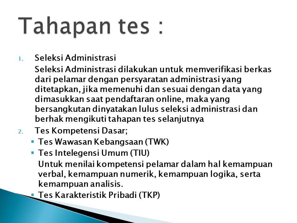 1. Seleksi Administrasi Seleksi Administrasi dilakukan untuk memverifikasi berkas dari pelamar dengan persyaratan administrasi yang ditetapkan, jika m