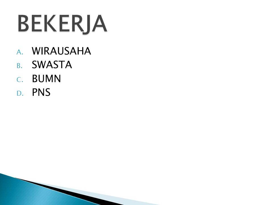 A. WIRAUSAHA B. SWASTA C. BUMN D. PNS