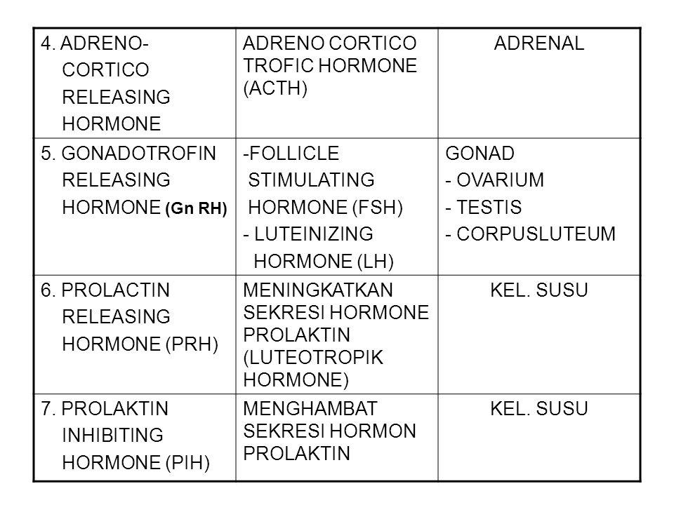 4. ADRENO- CORTICO RELEASING HORMONE ADRENO CORTICO TROFIC HORMONE (ACTH) ADRENAL 5. GONADOTROFIN RELEASING HORMONE (Gn RH) -FOLLICLE STIMULATING HORM