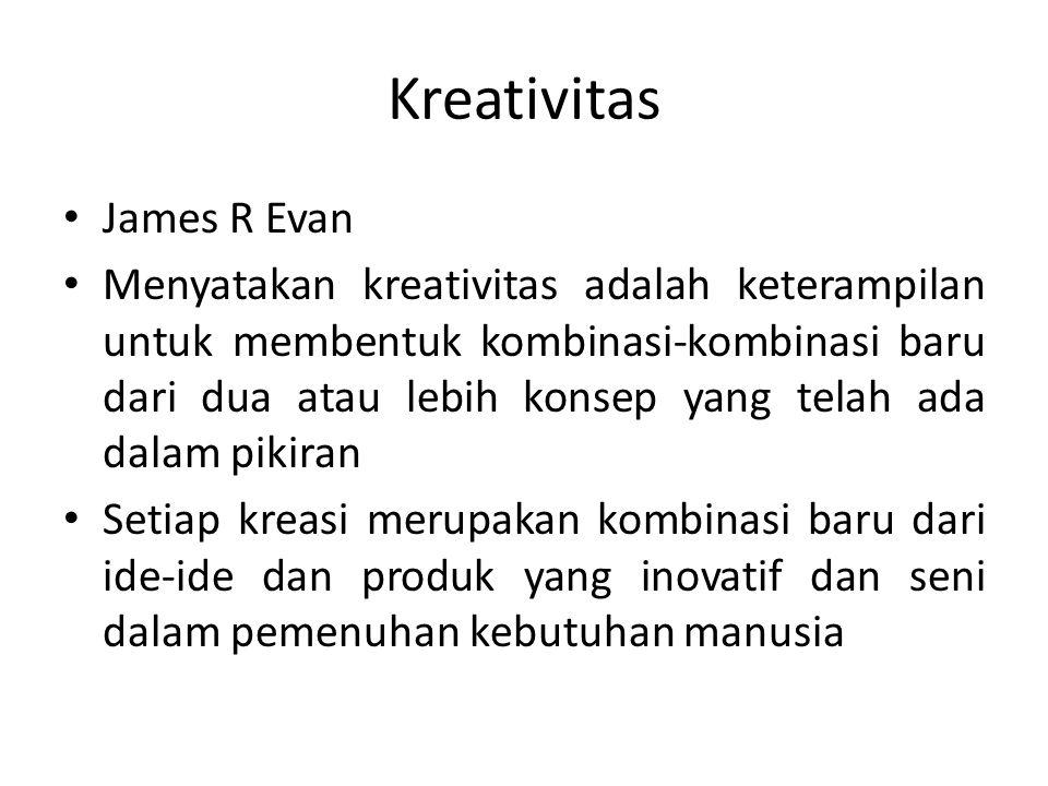 Kreativitas James R Evan Menyatakan kreativitas adalah keterampilan untuk membentuk kombinasi-kombinasi baru dari dua atau lebih konsep yang telah ada