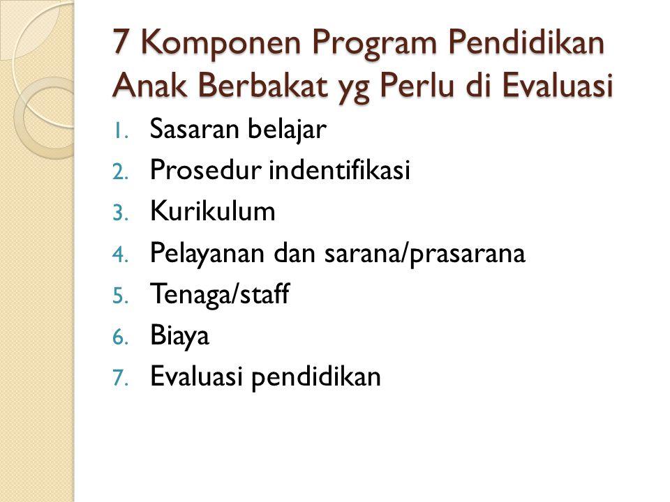 7 Komponen Program Pendidikan Anak Berbakat yg Perlu di Evaluasi 1. Sasaran belajar 2. Prosedur indentifikasi 3. Kurikulum 4. Pelayanan dan sarana/pra