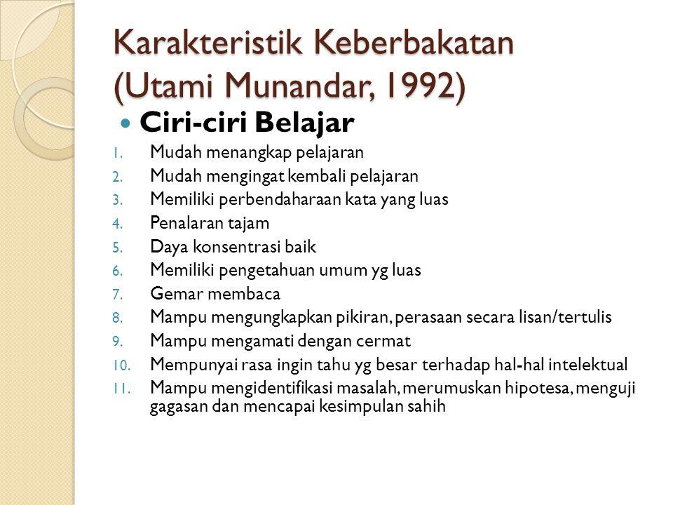 Karakteristik Keberbakatan (Utami Munandar, 1992) Ciri-ciri Belajar 1. Mudah menangkap pelajaran 2. Mudah mengingat kembali pelajaran 3. Memiliki perb