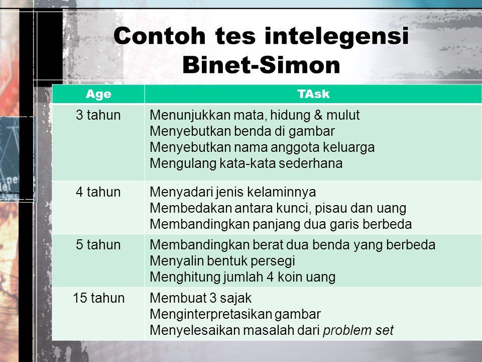 Contoh tes intelegensi Binet-Simon AgeTAsk 3 tahunMenunjukkan mata, hidung & mulut Menyebutkan benda di gambar Menyebutkan nama anggota keluarga Mengu