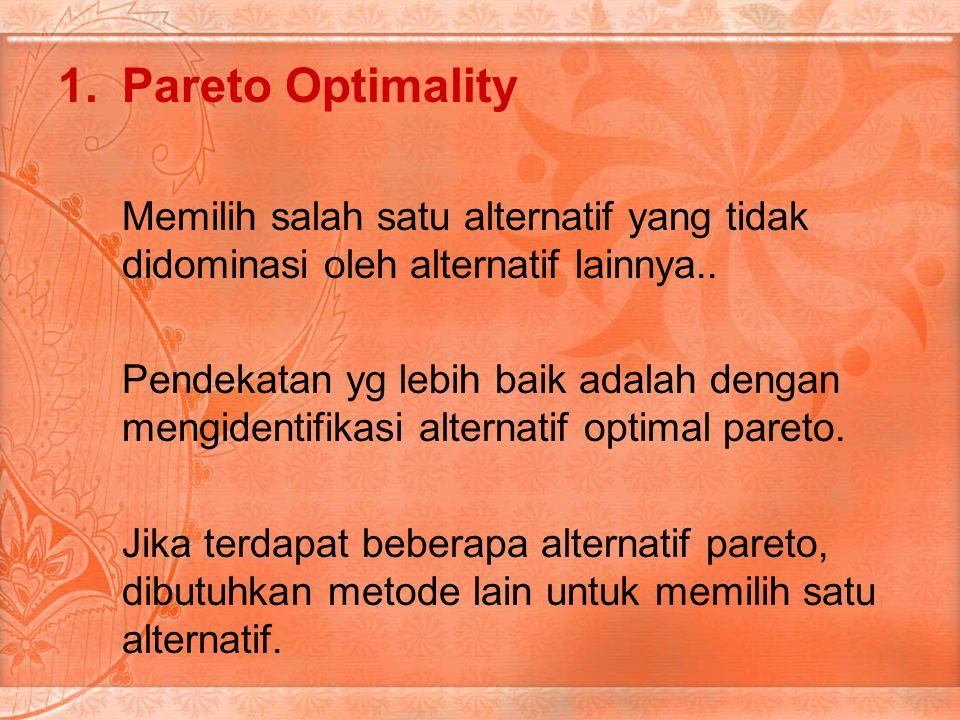 1.Pareto Optimality Memilih salah satu alternatif yang tidak didominasi oleh alternatif lainnya..