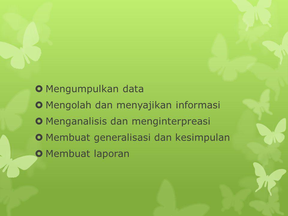  Mengumpulkan data  Mengolah dan menyajikan informasi  Menganalisis dan menginterpreasi  Membuat generalisasi dan kesimpulan  Membuat laporan