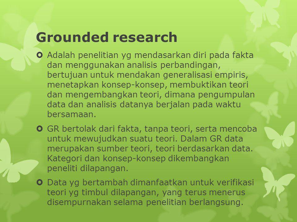 Grounded research  Adalah penelitian yg mendasarkan diri pada fakta dan menggunakan analisis perbandingan, bertujuan untuk mendakan generalisasi empiris, menetapkan konsep-konsep, membuktikan teori dan mengembangkan teori, dimana pengumpulan data dan analisis datanya berjalan pada waktu bersamaan.